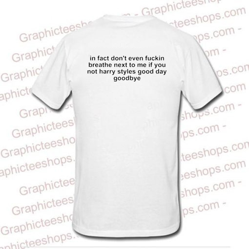 In Fact Don't Even Fuckin Breathe Nex To Me If You're Not Harry Styles good day Goodbye tshirt back